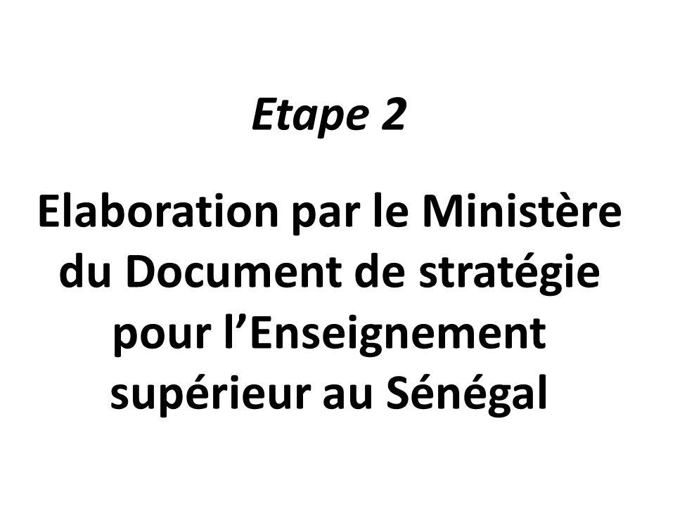 Etape 2 Elaboration par le Ministère du Document de stratégie pour l'Enseignement supérieur au Sénégal.