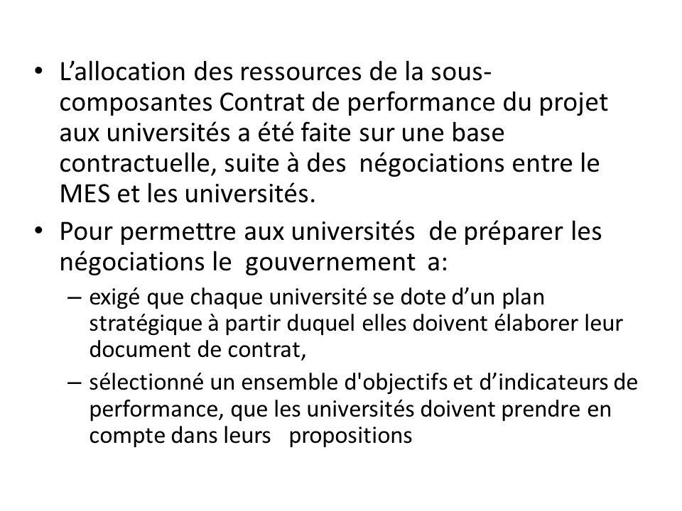 L'allocation des ressources de la sous-composantes Contrat de performance du projet aux universités a été faite sur une base contractuelle, suite à des négociations entre le MES et les universités.