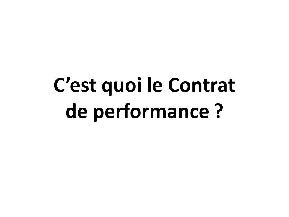 C'est quoi le Contrat de performance