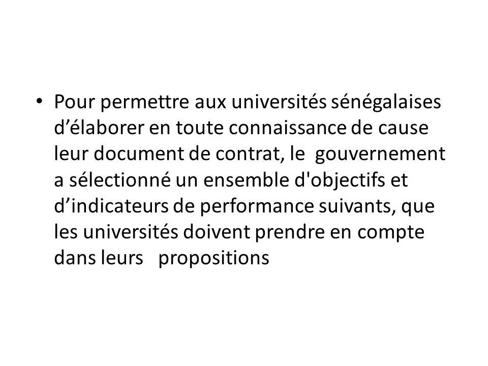 Pour permettre aux universités sénégalaises d'élaborer en toute connaissance de cause leur document de contrat, le gouvernement a sélectionné un ensemble d objectifs et d'indicateurs de performance suivants, que les universités doivent prendre en compte dans leurs propositions