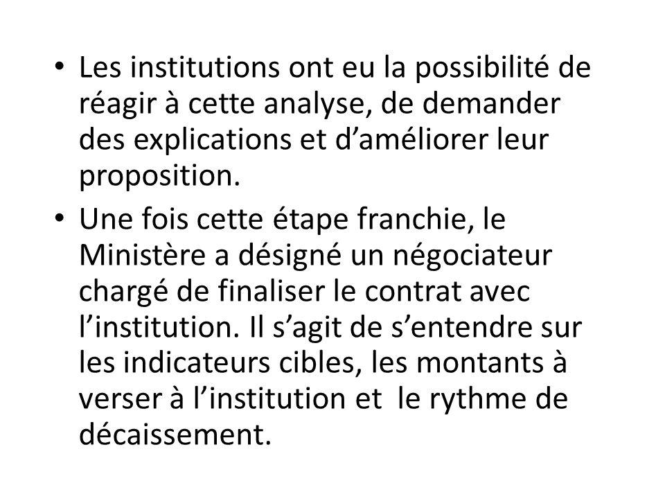 Les institutions ont eu la possibilité de réagir à cette analyse, de demander des explications et d'améliorer leur proposition.
