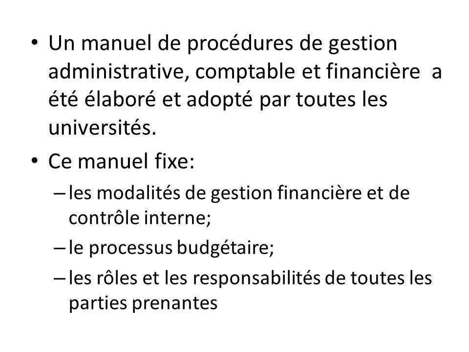 Un manuel de procédures de gestion administrative, comptable et financière a été élaboré et adopté par toutes les universités.