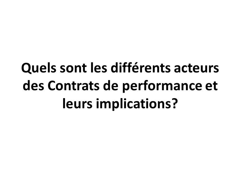 Quels sont les différents acteurs des Contrats de performance et leurs implications