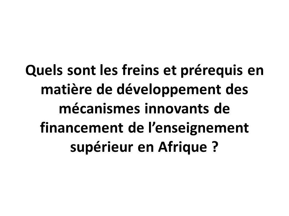Quels sont les freins et prérequis en matière de développement des mécanismes innovants de financement de l'enseignement supérieur en Afrique