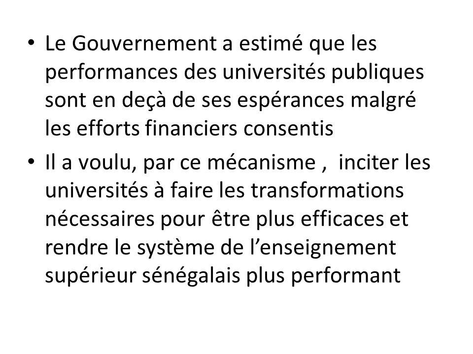 Le Gouvernement a estimé que les performances des universités publiques sont en deçà de ses espérances malgré les efforts financiers consentis