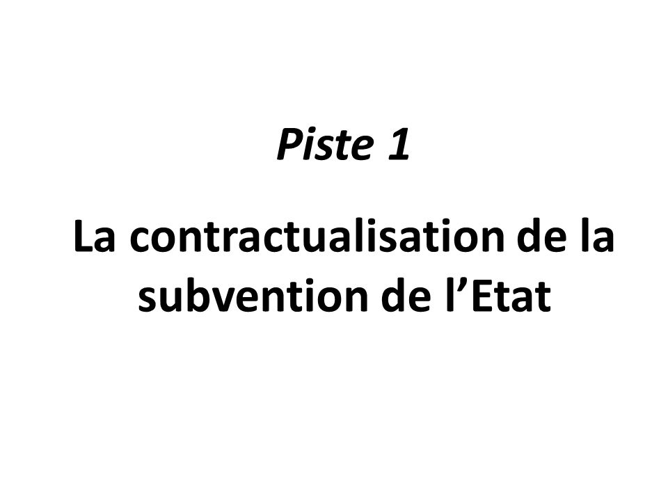 La contractualisation de la subvention de l'Etat