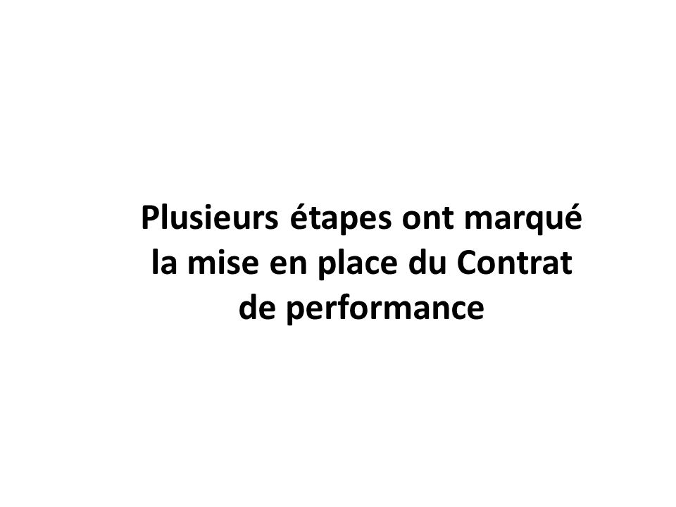 Plusieurs étapes ont marqué la mise en place du Contrat de performance