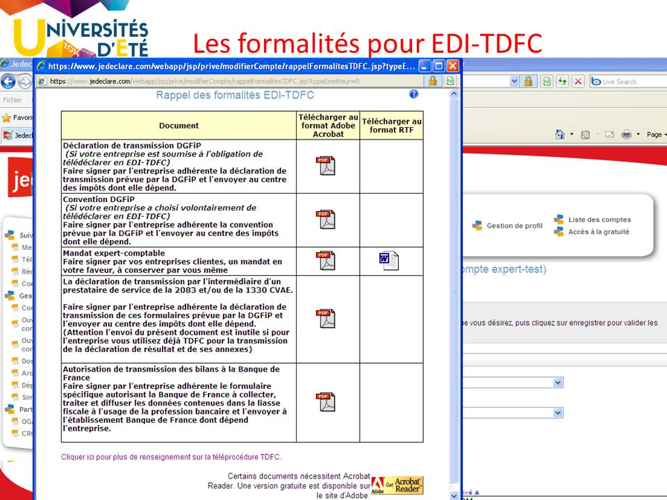 Les formalités pour EDI-TDFC