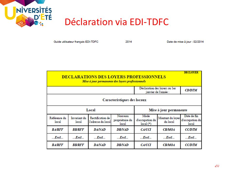 Déclaration via EDI-TDFC