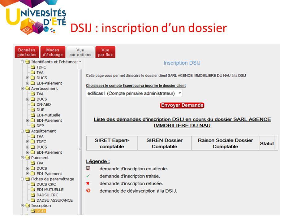 DSIJ : inscription d'un dossier