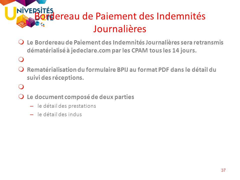 Bordereau de Paiement des Indemnités Journalières