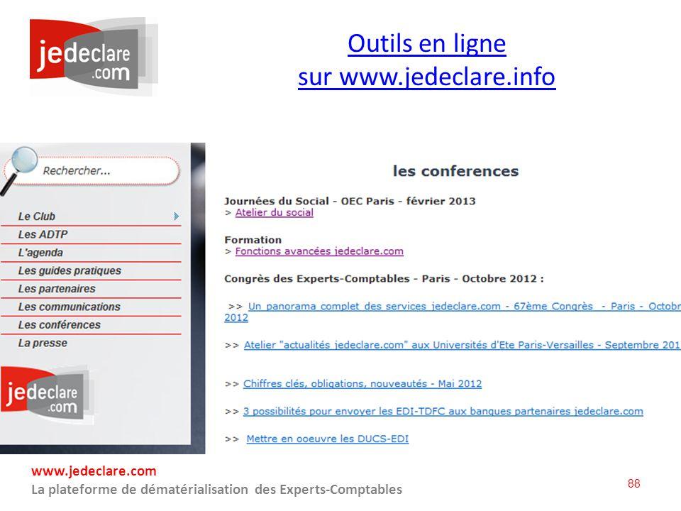 Outils en ligne sur www.jedeclare.info