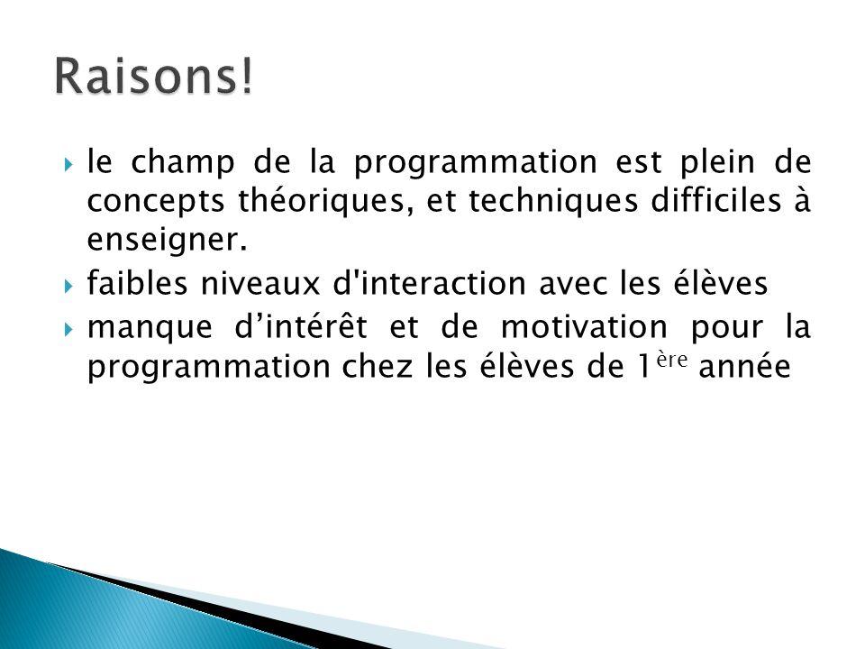 Raisons! le champ de la programmation est plein de concepts théoriques, et techniques difficiles à enseigner.