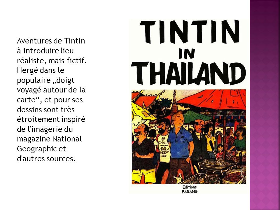 Aventures de Tintin à introduire lieu réaliste, mais fictif