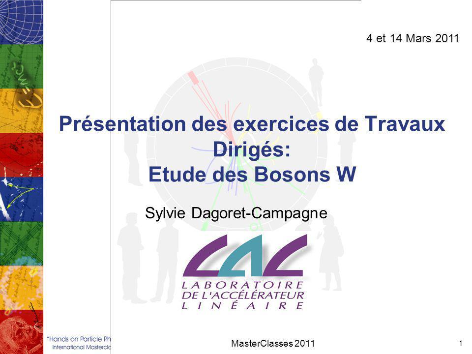 Présentation des exercices de Travaux Dirigés: Etude des Bosons W