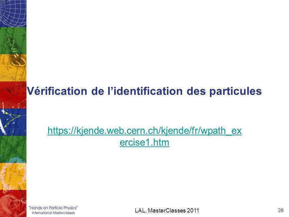 Vérification de l'identification des particules