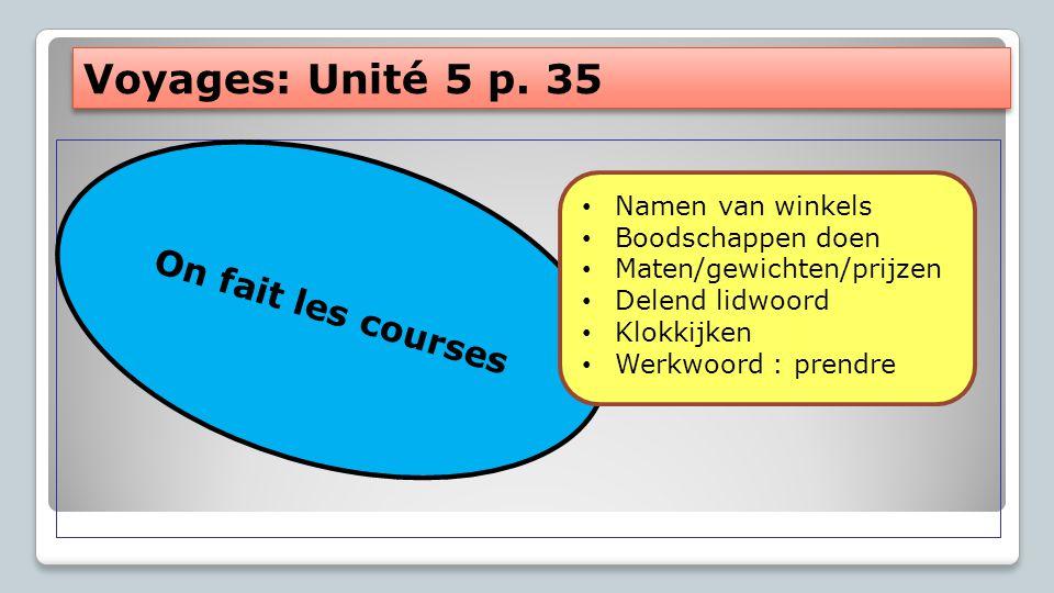 Voyages: Unité 5 p. 35 On fait les courses Namen van winkels