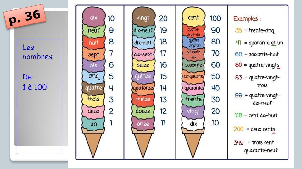 p. 36 Les nombres De 1 à 100
