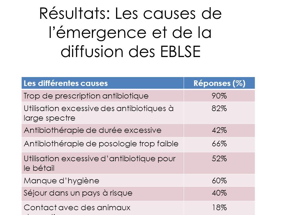 Résultats: Les causes de l'émergence et de la diffusion des EBLSE