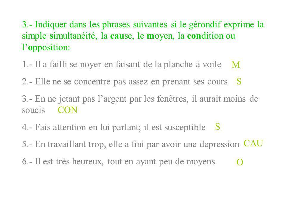 3.- Indiquer dans les phrases suivantes si le gérondif exprime la simple simultanéité, la cause, le moyen, la condition ou l'opposition: