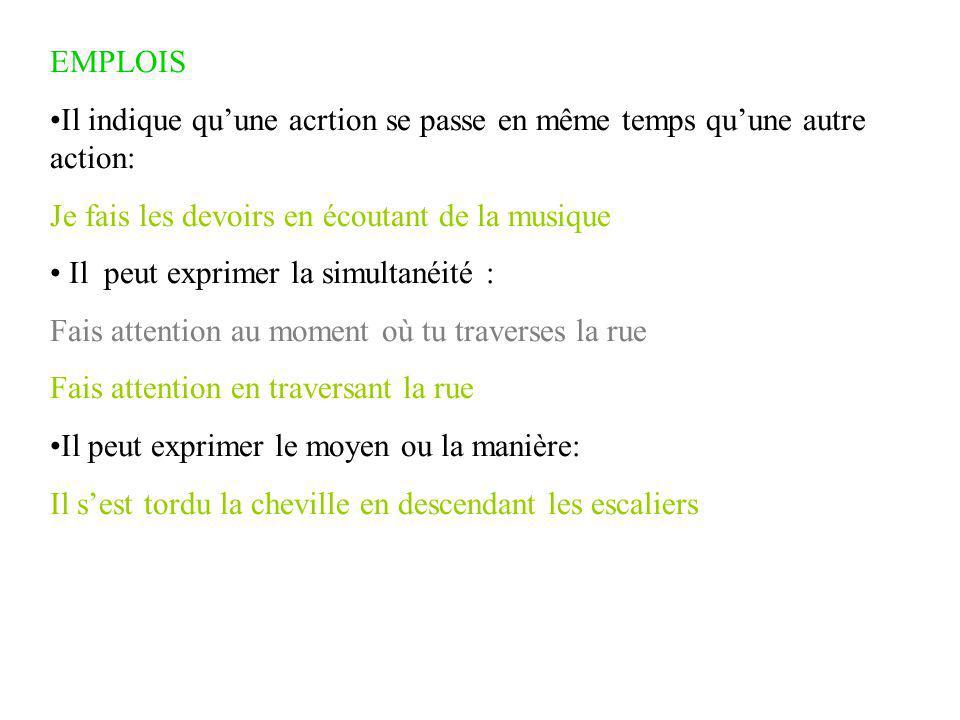 EMPLOIS Il indique qu'une acrtion se passe en même temps qu'une autre action: Je fais les devoirs en écoutant de la musique.