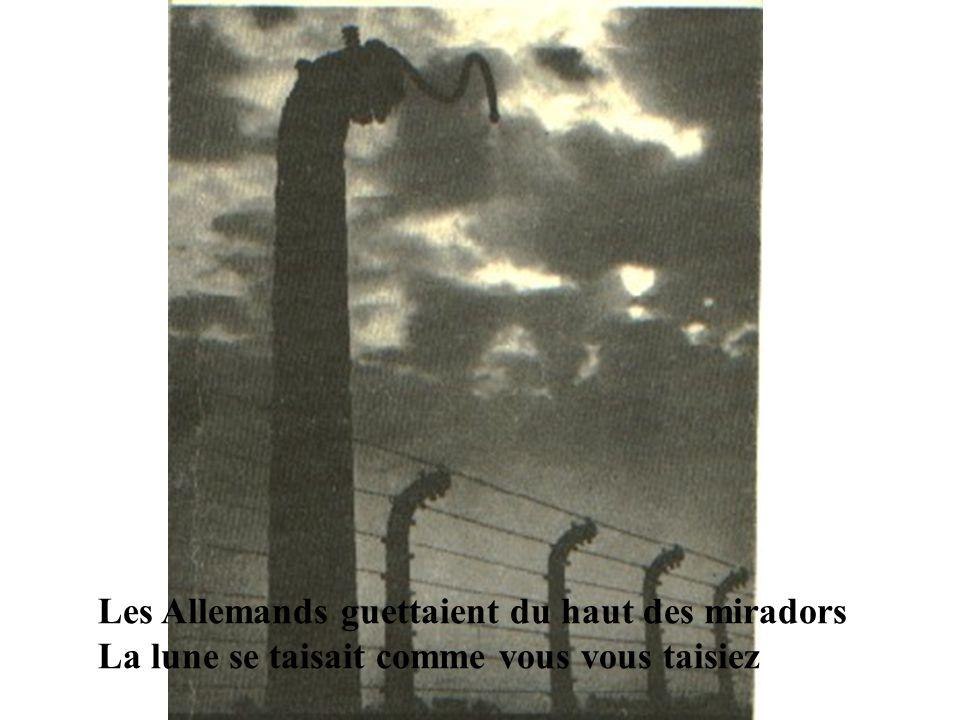 Les Allemands guettaient du haut des miradors La lune se taisait comme vous vous taisiez