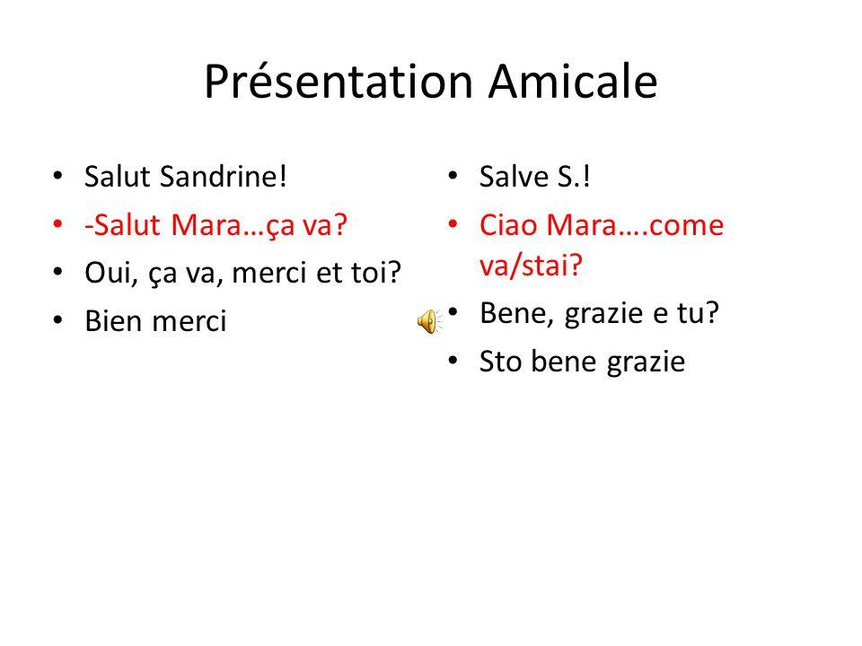Présentation Amicale Salut Sandrine! -Salut Mara…ça va