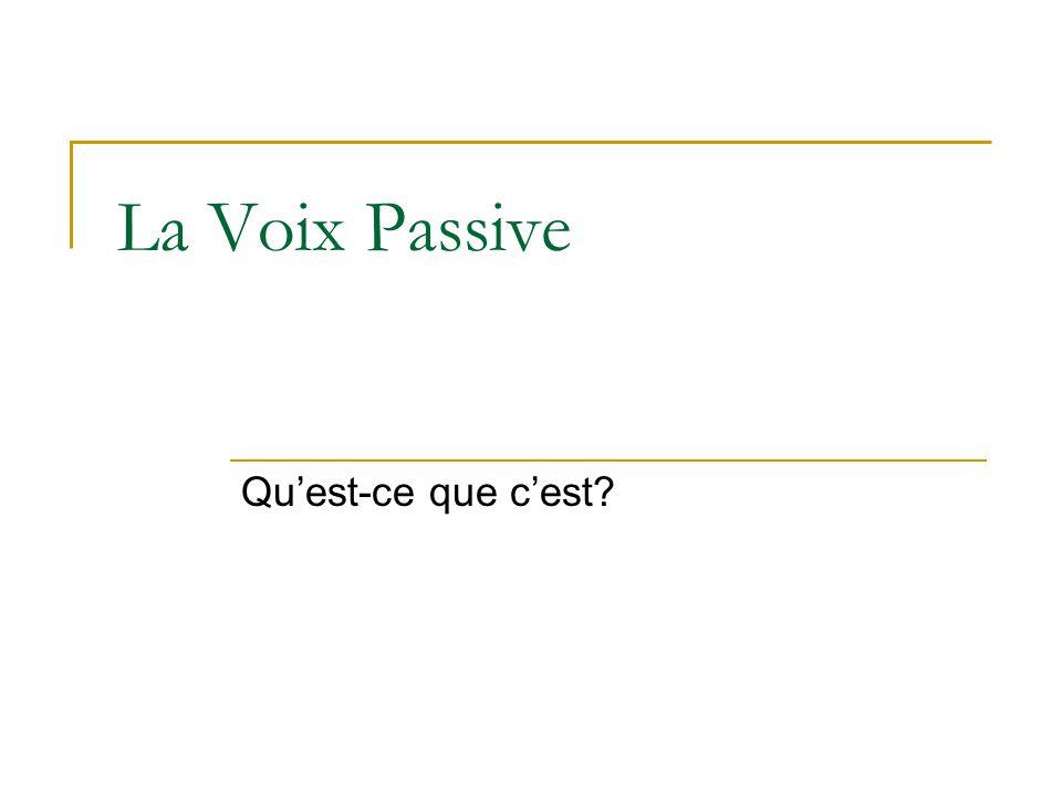 La Voix Passive Qu'est-ce que c'est