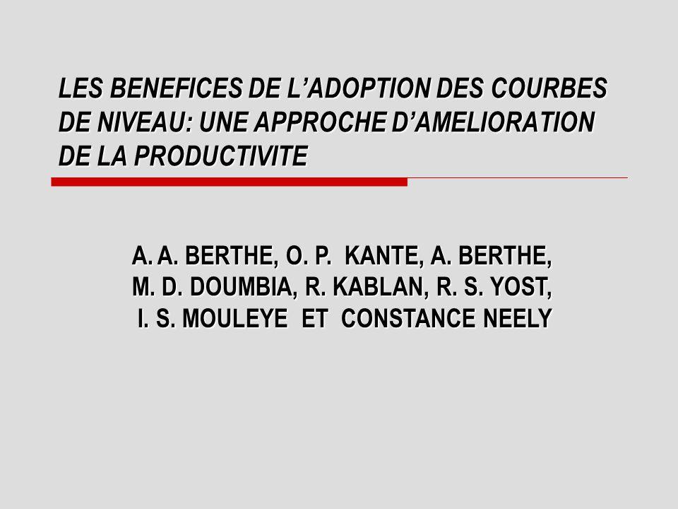 LES BENEFICES DE L'ADOPTION DES COURBES DE NIVEAU: UNE APPROCHE D'AMELIORATION DE LA PRODUCTIVITE