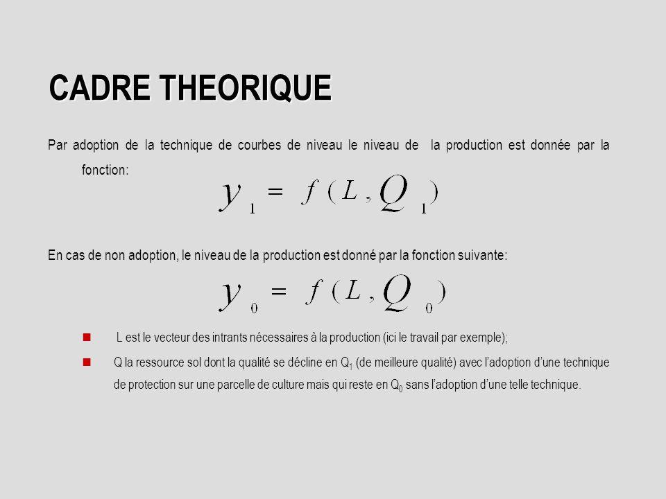 CADRE THEORIQUE Par adoption de la technique de courbes de niveau le niveau de la production est donnée par la fonction: