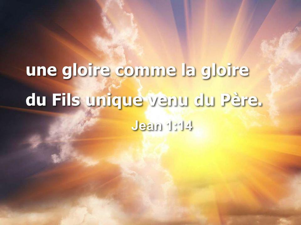 une gloire comme la gloire du Fils unique venu du Père.