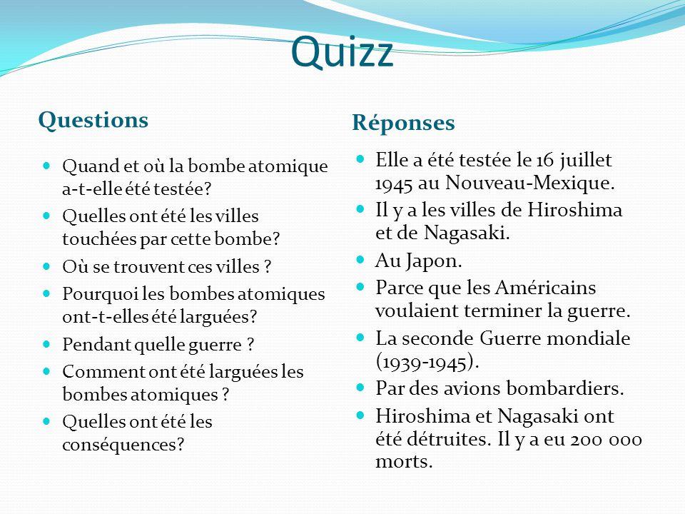 Quizz Questions Réponses
