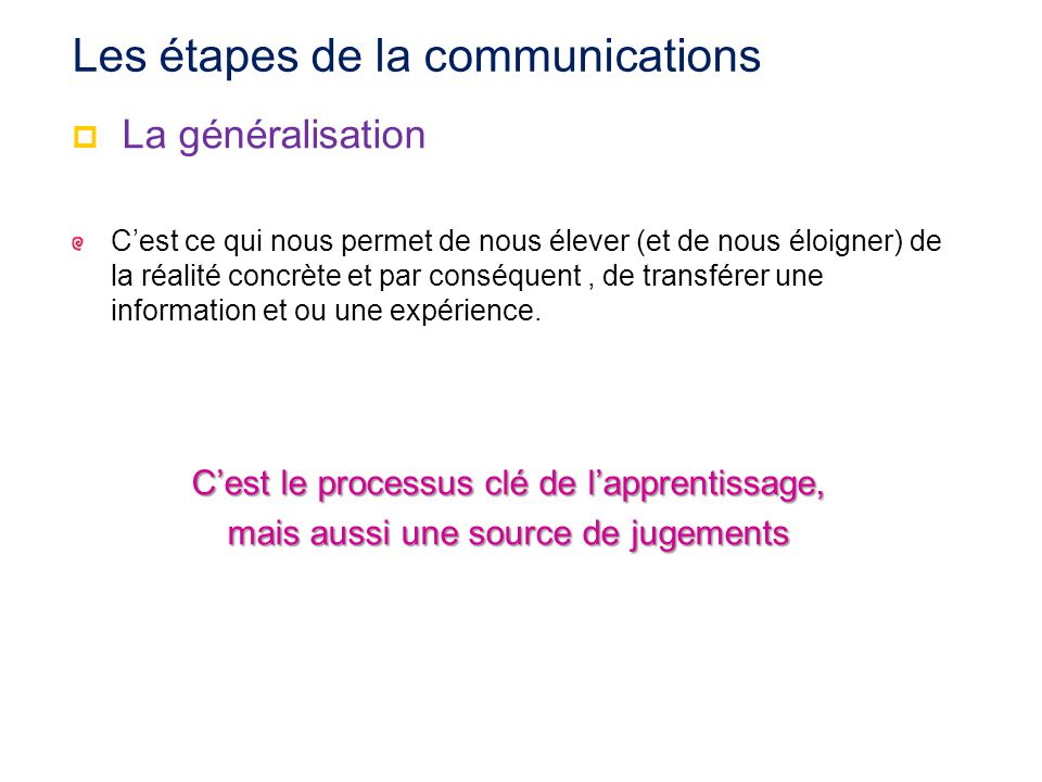 Les étapes de la communications
