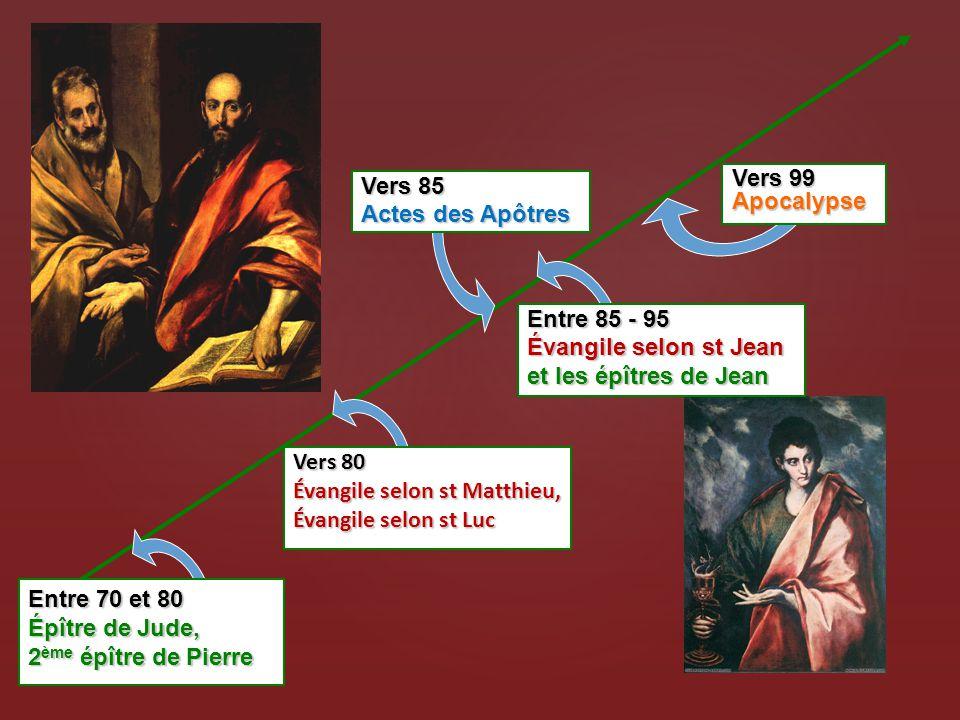 Vers 99 Apocalypse Vers 85. Actes des Apôtres. Entre 85 - 95. Évangile selon st Jean. et les épîtres de Jean.