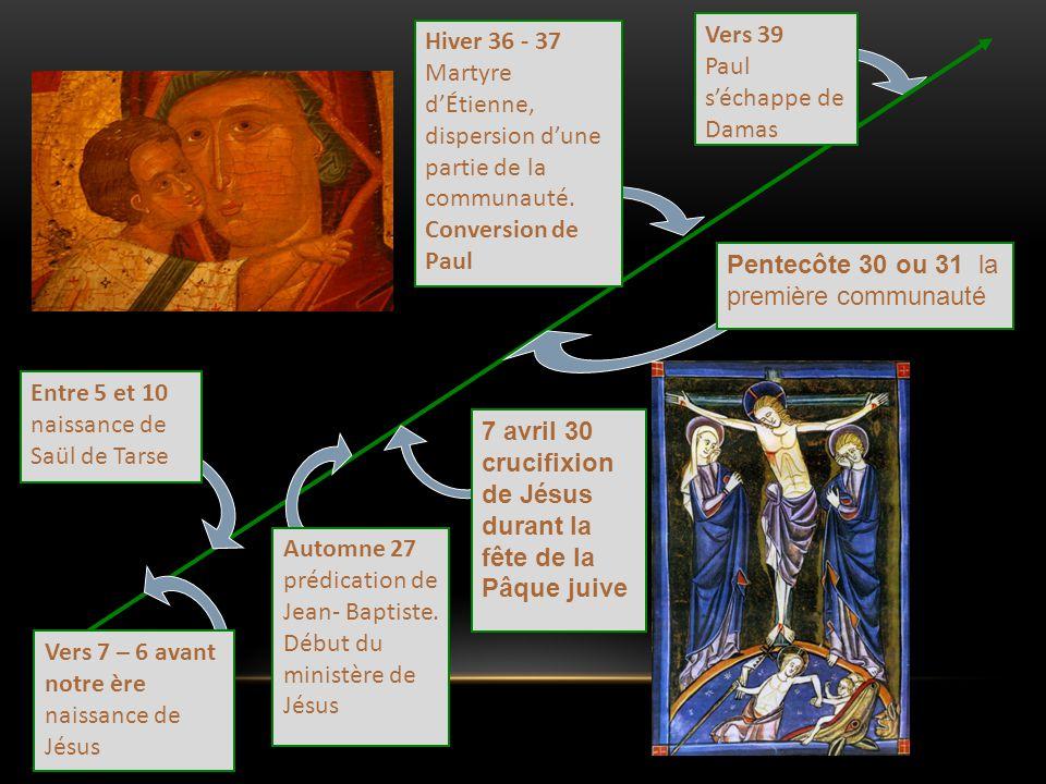 Vers 39 Paul s'échappe de Damas. Hiver 36 - 37 Martyre d'Étienne, dispersion d'une partie de la communauté. Conversion de Paul.