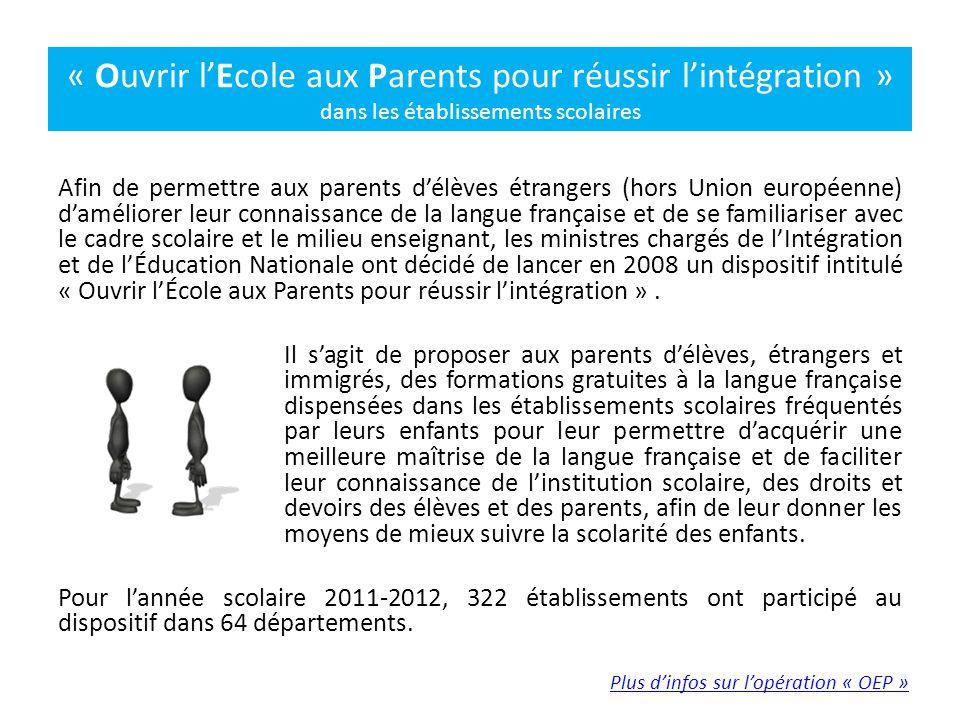 « Ouvrir l'Ecole aux Parents pour réussir l'intégration » dans les établissements scolaires