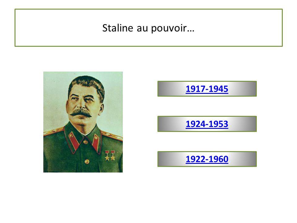 Staline au pouvoir… 1917-1945 1924-1953 1922-1960