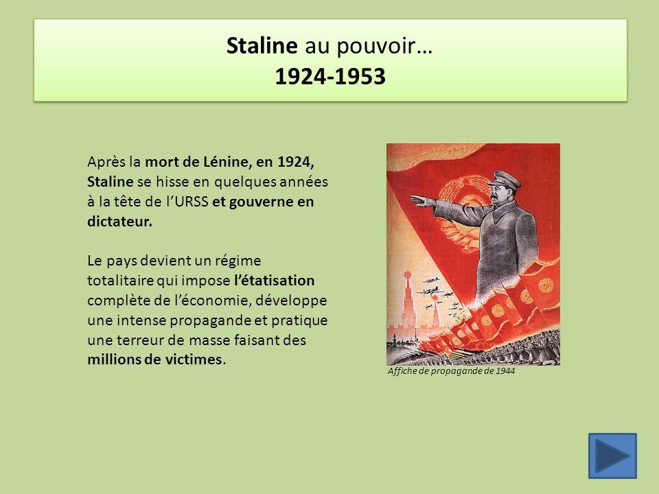 Staline au pouvoir… 1924-1953 Après la mort de Lénine, en 1924, Staline se hisse en quelques années à la tête de l'URSS et gouverne en dictateur.