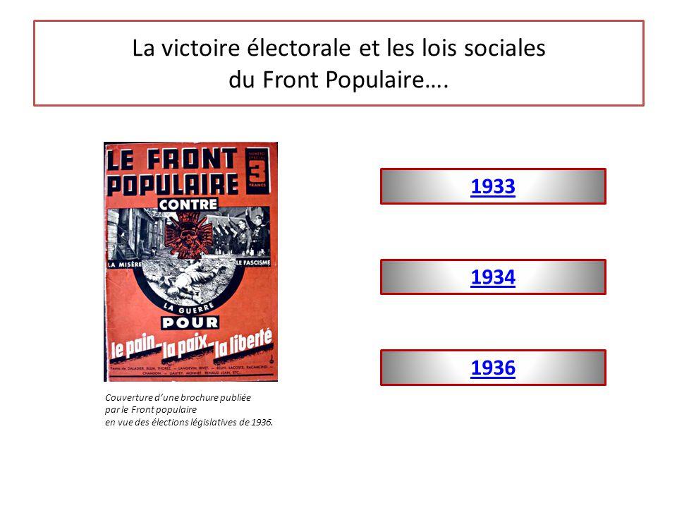 La victoire électorale et les lois sociales du Front Populaire….