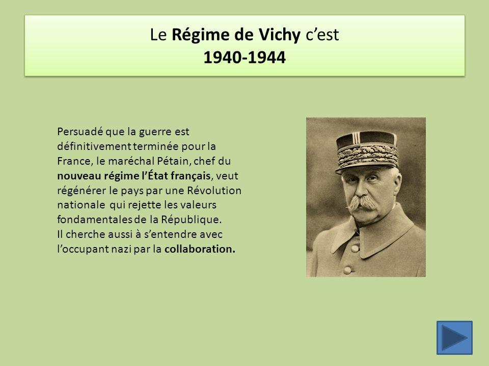 Le Régime de Vichy c'est 1940-1944