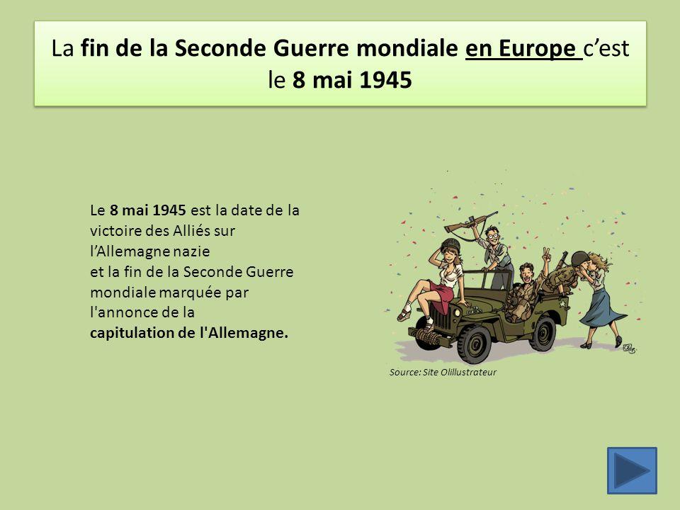 La fin de la Seconde Guerre mondiale en Europe c'est le 8 mai 1945