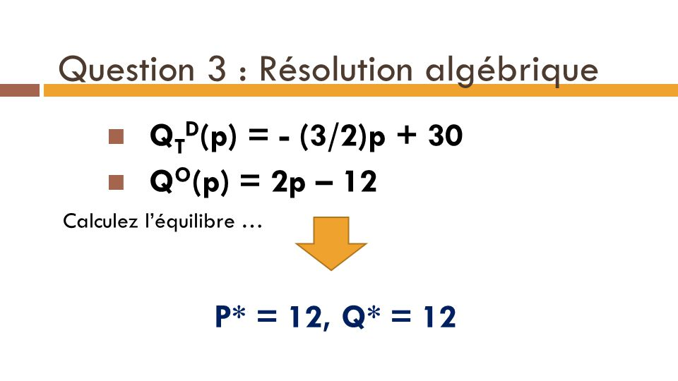 Question 3 : Résolution algébrique