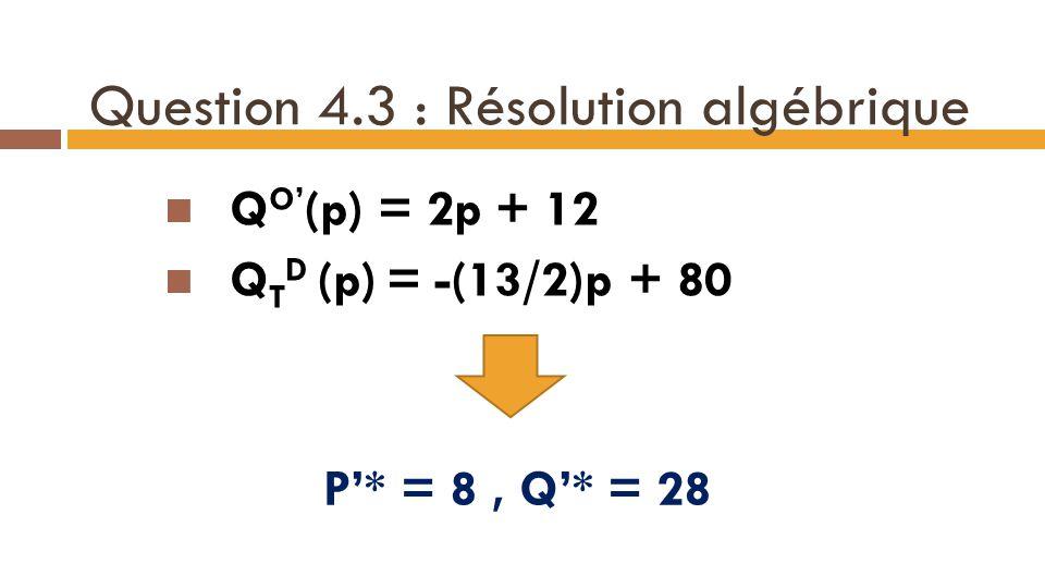 Question 4.3 : Résolution algébrique