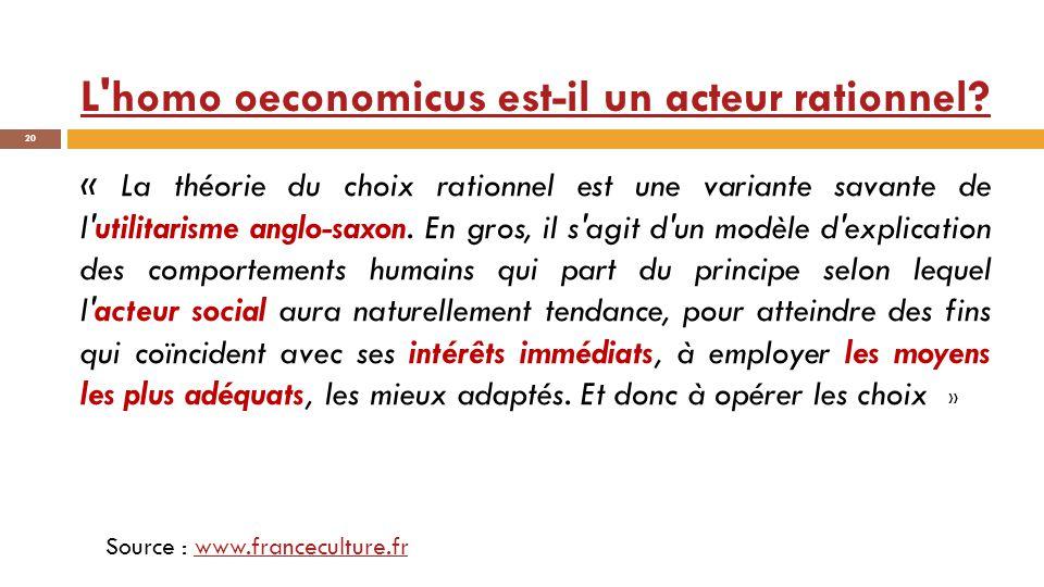 L homo oeconomicus est-il un acteur rationnel