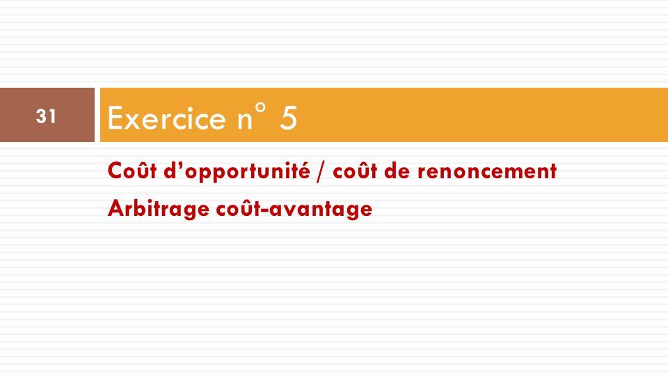 Exercice n° 5 Coût d'opportunité / coût de renoncement