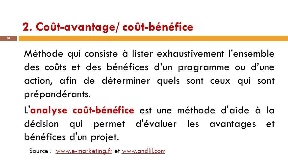 2. Coût-avantage/ coût-bénéfice