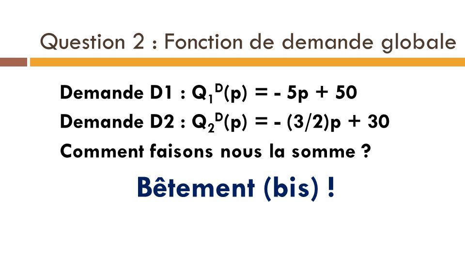 Question 2 : Fonction de demande globale