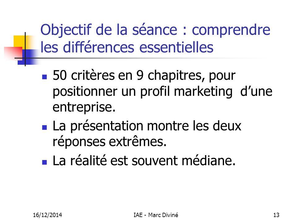 Objectif de la séance : comprendre les différences essentielles