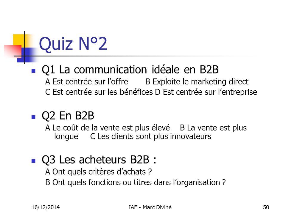 Quiz N°2 Q1 La communication idéale en B2B Q2 En B2B