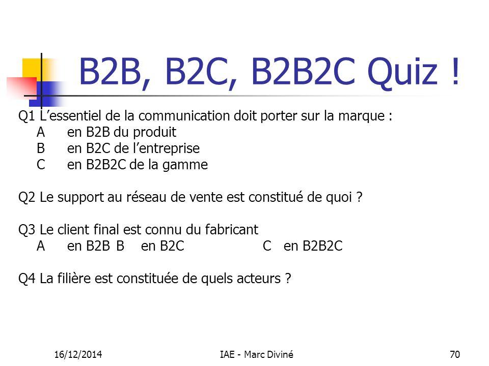 B2B, B2C, B2B2C Quiz ! Q1 L'essentiel de la communication doit porter sur la marque : A en B2B du produit.